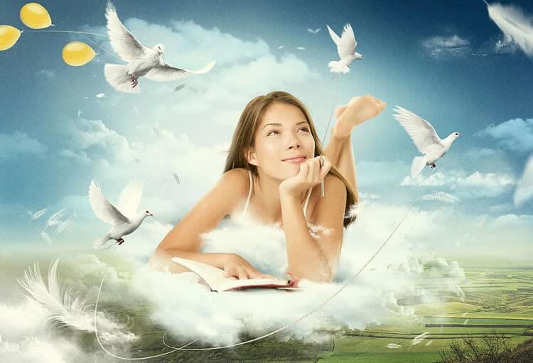 девушка думает и мысли как голуби