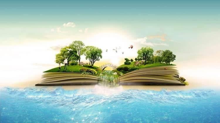 Книга с вырастающими из неё деревьями
