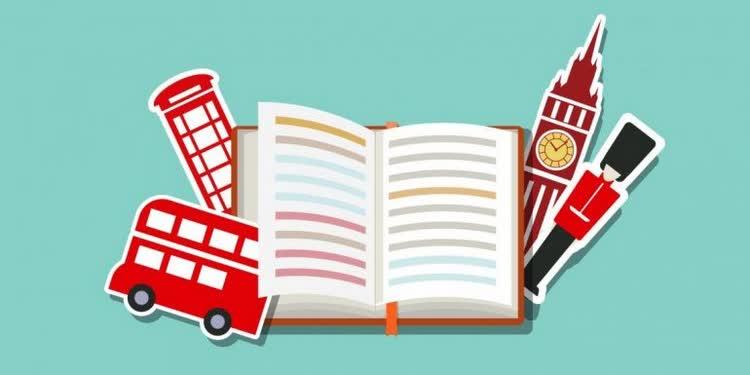 Книга и красные символы английского языка